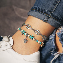 TTLIFE Bohemian Starfish Beads Stone Anklets for Women BOHO Silver Color Shell Chain Bracelet on Leg Beach Ankle Jewelry