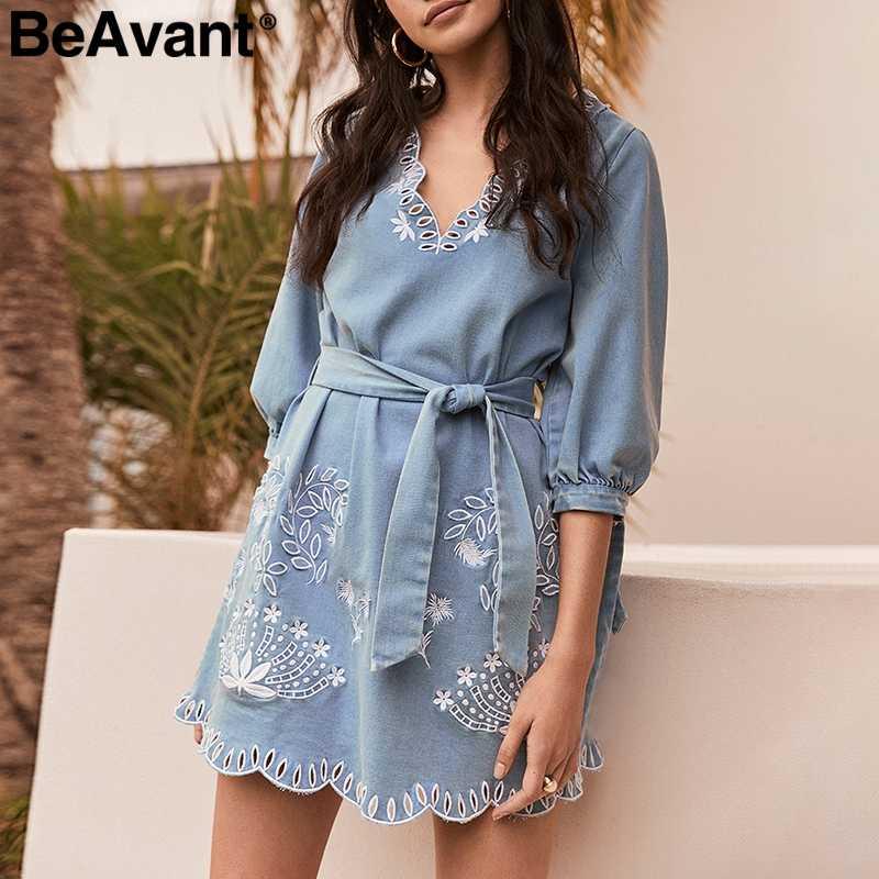 BeAvant женское Синее джинсовое платье с v-образным вырезом, элегантное короткое мини платье с поясом, повседневное пляжное летнее платье для женщин vestidos