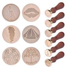 6 Дизайн Ретро деревянный штамп античный металлический уплотнительный воск штампы деревянная ручка свадебные приглашения воск печать штамп ремесло воск печать штамп