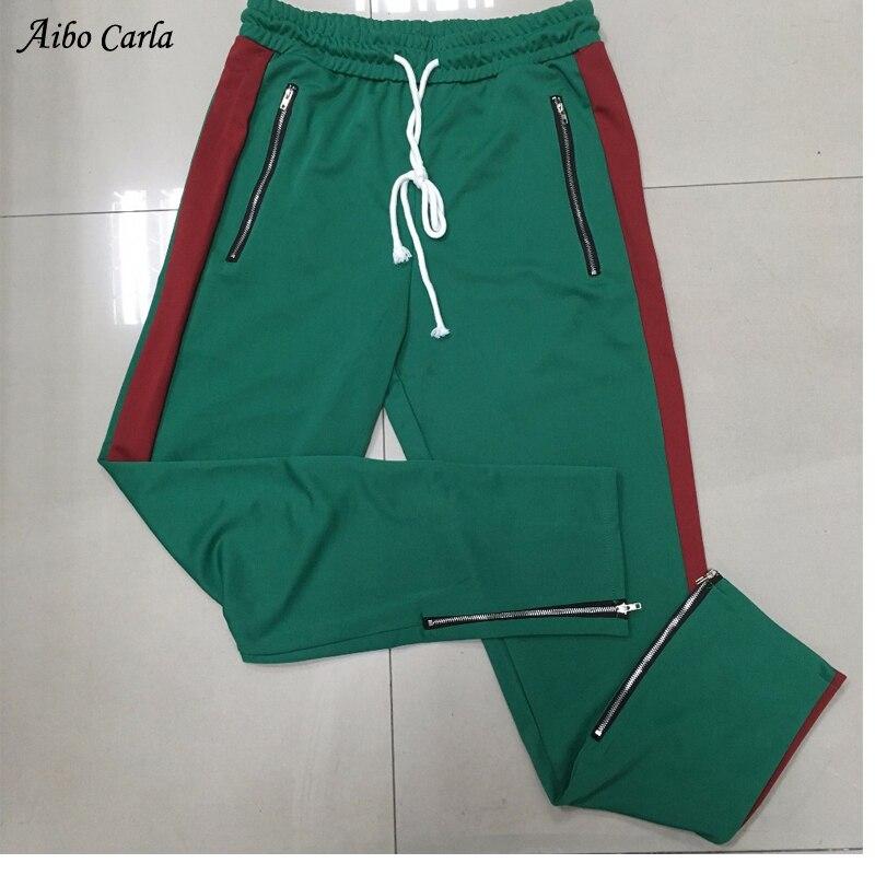 2018 New Mens Sportswear Pants Side Stripe Zipper Men