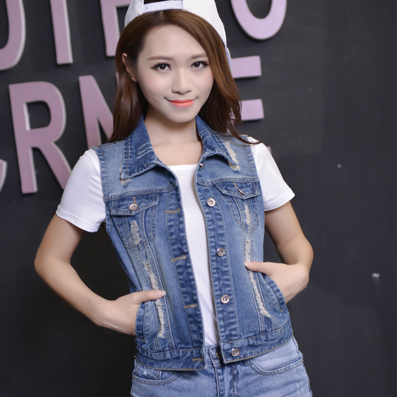 fashion women 39 s vest sleeveless jacket denim veste en jean femme gilet korean veste femme short. Black Bedroom Furniture Sets. Home Design Ideas