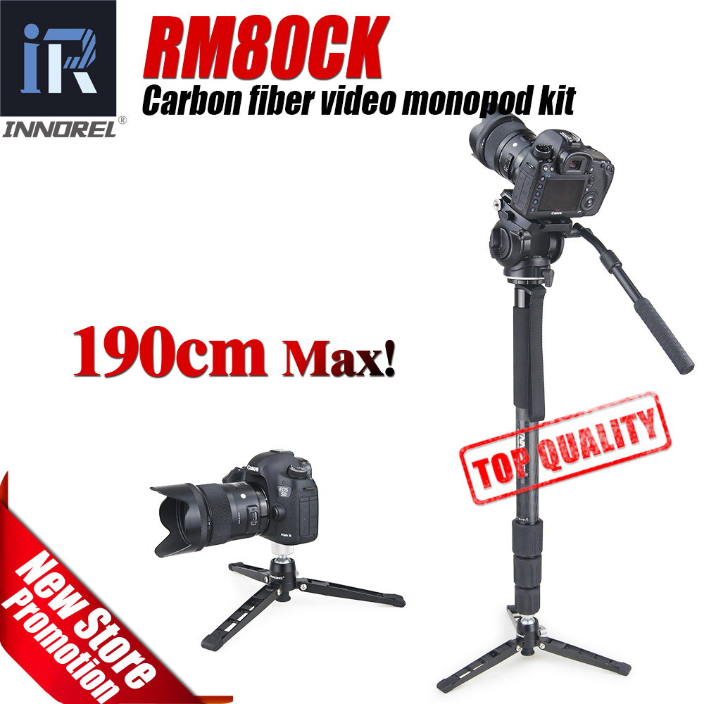RM80CK Professional carbon fiber video monopod for DSLR camera camcorder with Fluid video Head table tripod monopod base aluminium alloy professional camera tripod flexible dslr video monopod for photography with head suitable for 65mm bowl size