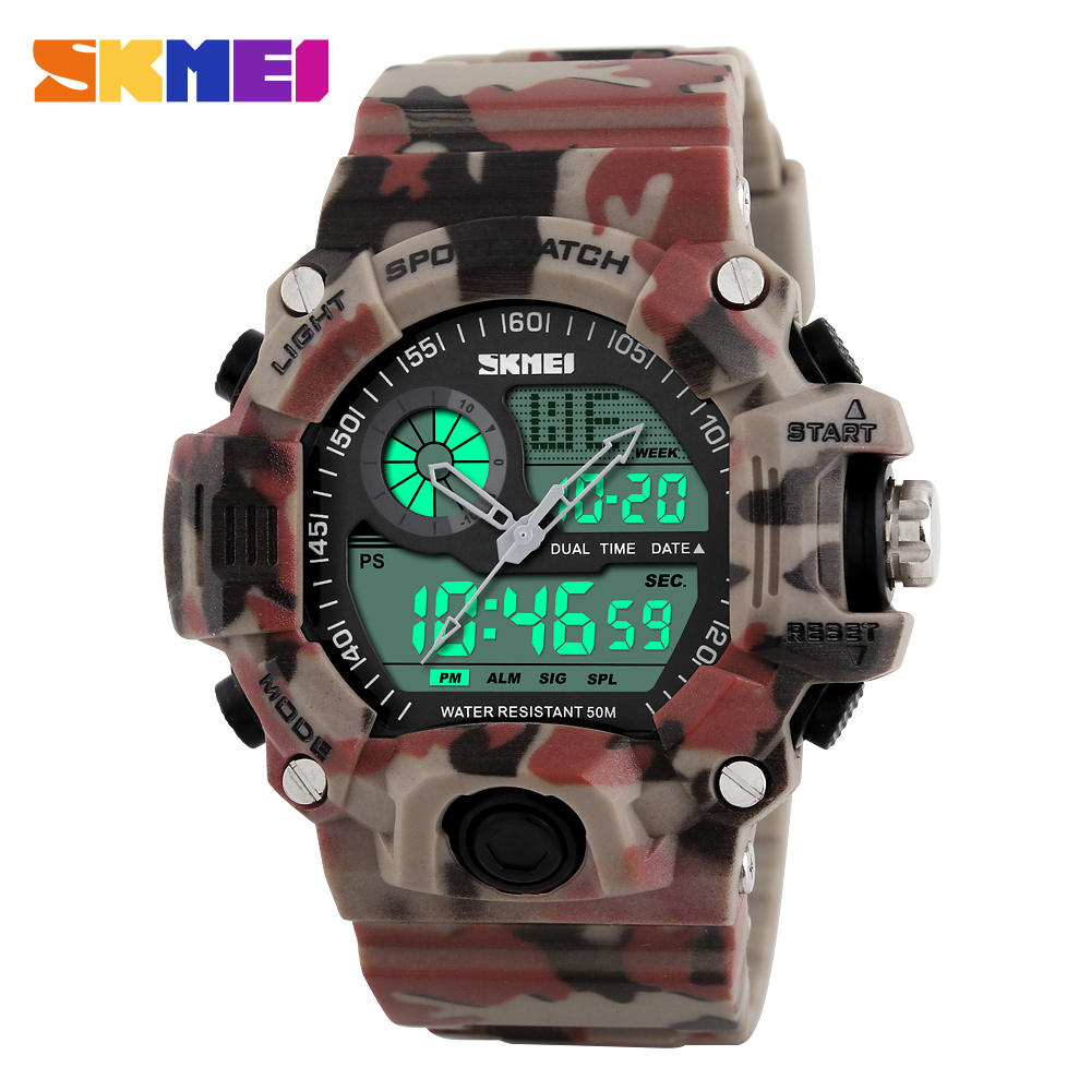 New 2016 Quartz Digital Camo Watch Men Dual Time Man Sports Watches Men Skmei S Shock Military Army Reloj Hombre LED Wristwatch skmei men quartz digital dual display sports watches new clock men outdoor military watch fashion student waterproof wristwatch