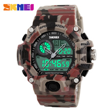цены New 2016 Quartz Digital Camo Watch Men Dual Time Man Sports Watches Men Skmei S Shock Military Army Reloj Hombre LED Wristwatch