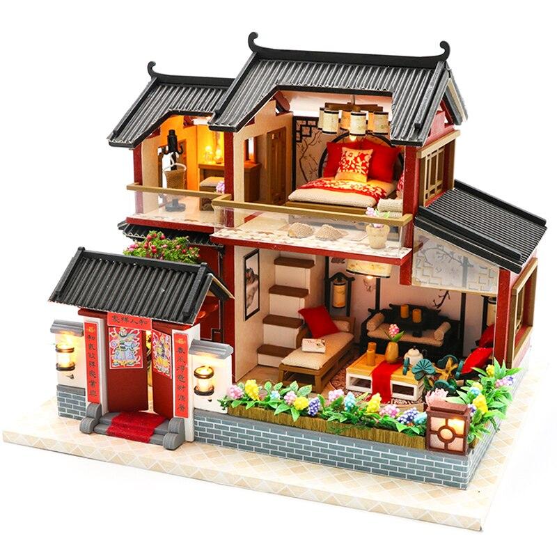Cutebee Doll House Furniture Miniature Dollhouse DIY Miniature House Room Box Theatre Toys For Children DIY Dollhouse M905