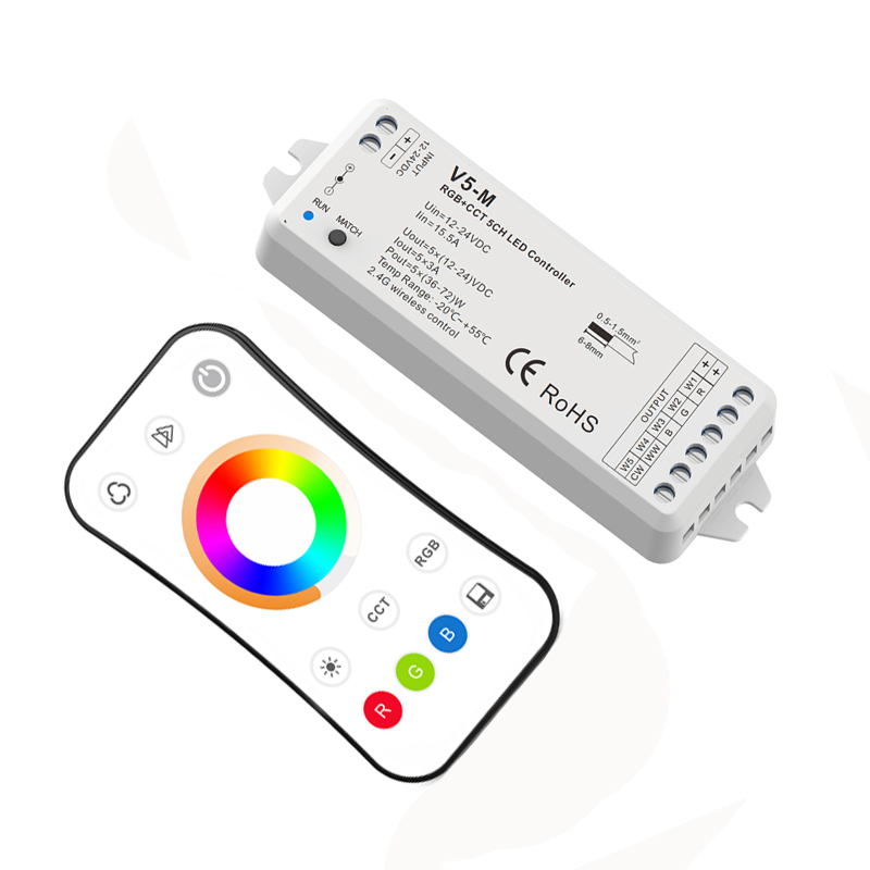 Nouveau contrôleur de bande Led RGB + CCT 12 V 2.4G RF télécommande sans fil 4A * 5CH 20A DC12V-24V de sortie RGB CCT contrôleur de bande Led V5-M + R17