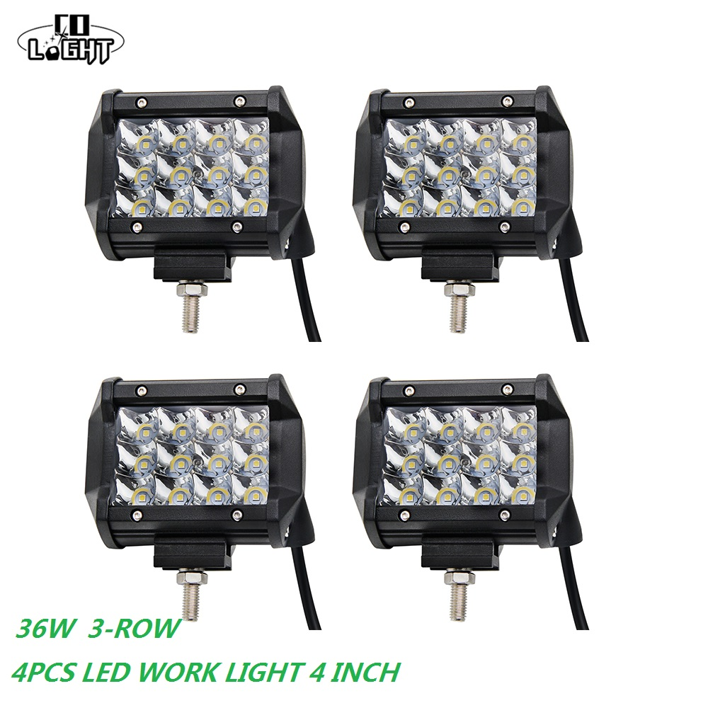 CO LIGHT Led Work Lights 36W Led 12 V 24V for Atv Tracks Tatra Mining Farm Niva Uaz Kayar Led 6000K 9-32V 4inch Led Spotlight