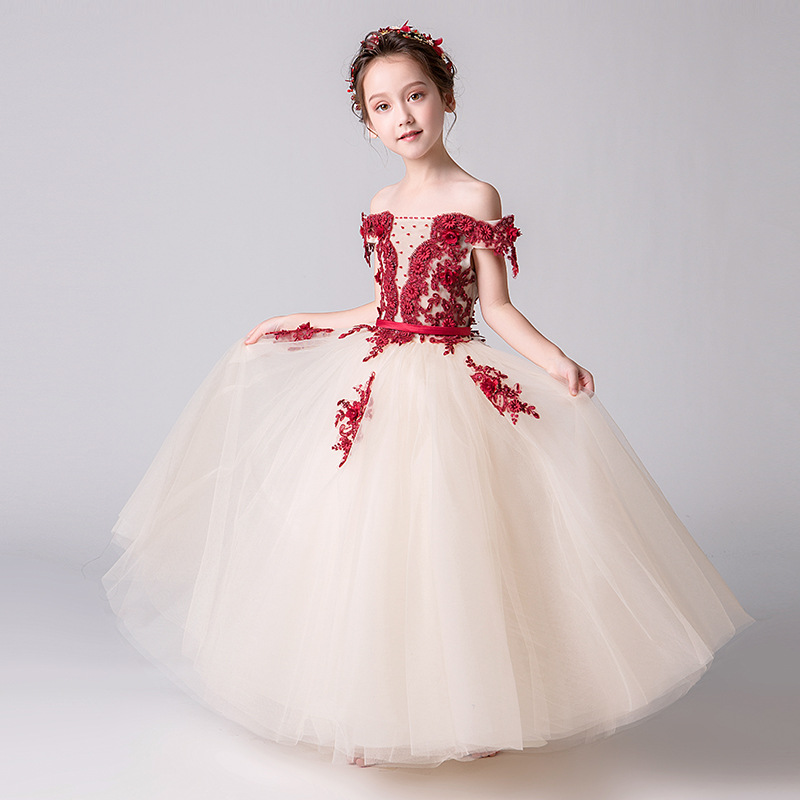 Exquisite Fancy Appliques Flower Girl Dresses for Wedding Kids Holy Communion Birthday Party Gowns Pageant Christmas