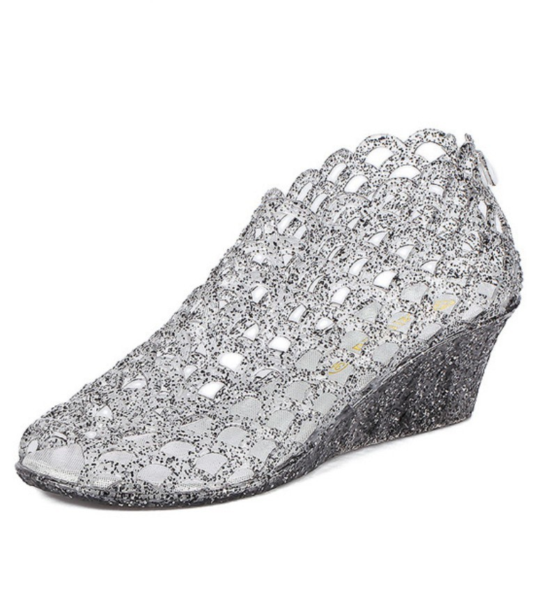 Crystal Jelly Sequined Cut Out Women Ankle Boots Summer Sandals Wedge Heel peep Toe hole Fretwork water rain shoes Bootie pumps