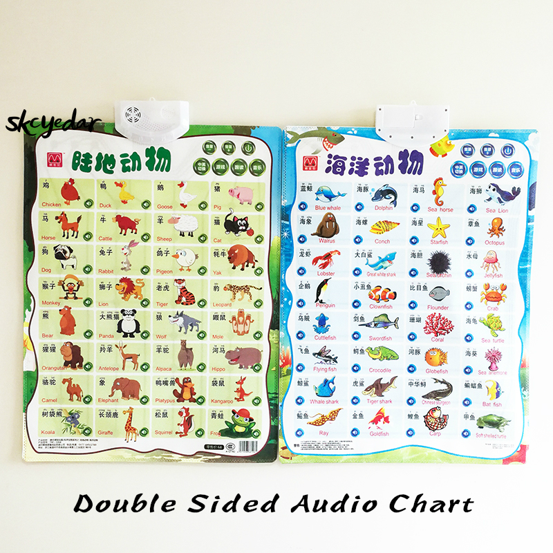 Audio Bilingual Animals Flip Chart (Double Sided) English&Chinese Early Education Wall Chart  16.5x22In Classroom Supplies