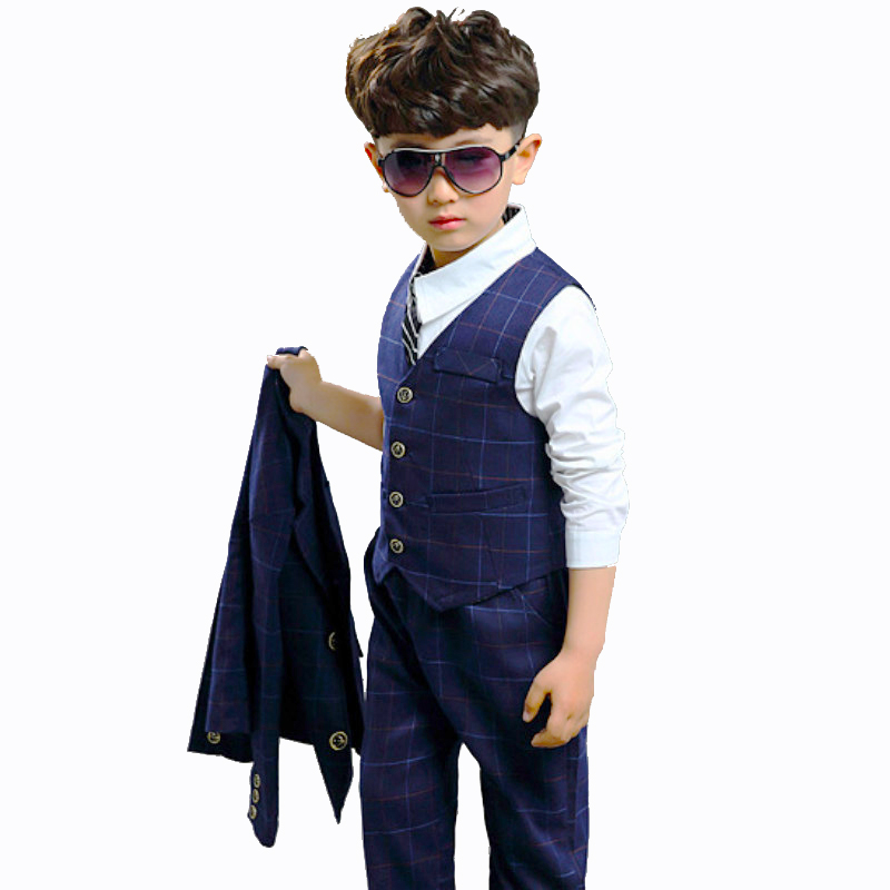 9ee5f9bca Buy 3 Pieces set Boys Clothes Set for 4 6 8 10 12 Years Plaid Navy Blue  Full Sleeve Boys Set Blazer+Vest+Pant Kids Wedding Suit 5Q02 Cheap Online