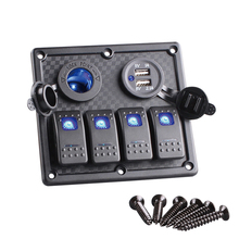 4 Gang Boat Rocker Switch Panel Dual USB Cigarette Lighter Socket Car Switch Panel LED Switch USB Marine Switch Panel SF-PN-R4S2