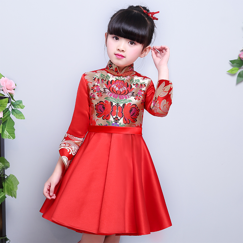 где купить Free shipping New Red Hot Chinese Style costume Child Girl Cheongsam Embroidery Dress Qipao Ball Gown Princess girl veil Dress дешево