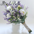 Lavanda lila púrpura artificial ramo de la boda para las novias 2017 flores artificiales ramos de novia trouw boeket modabelle