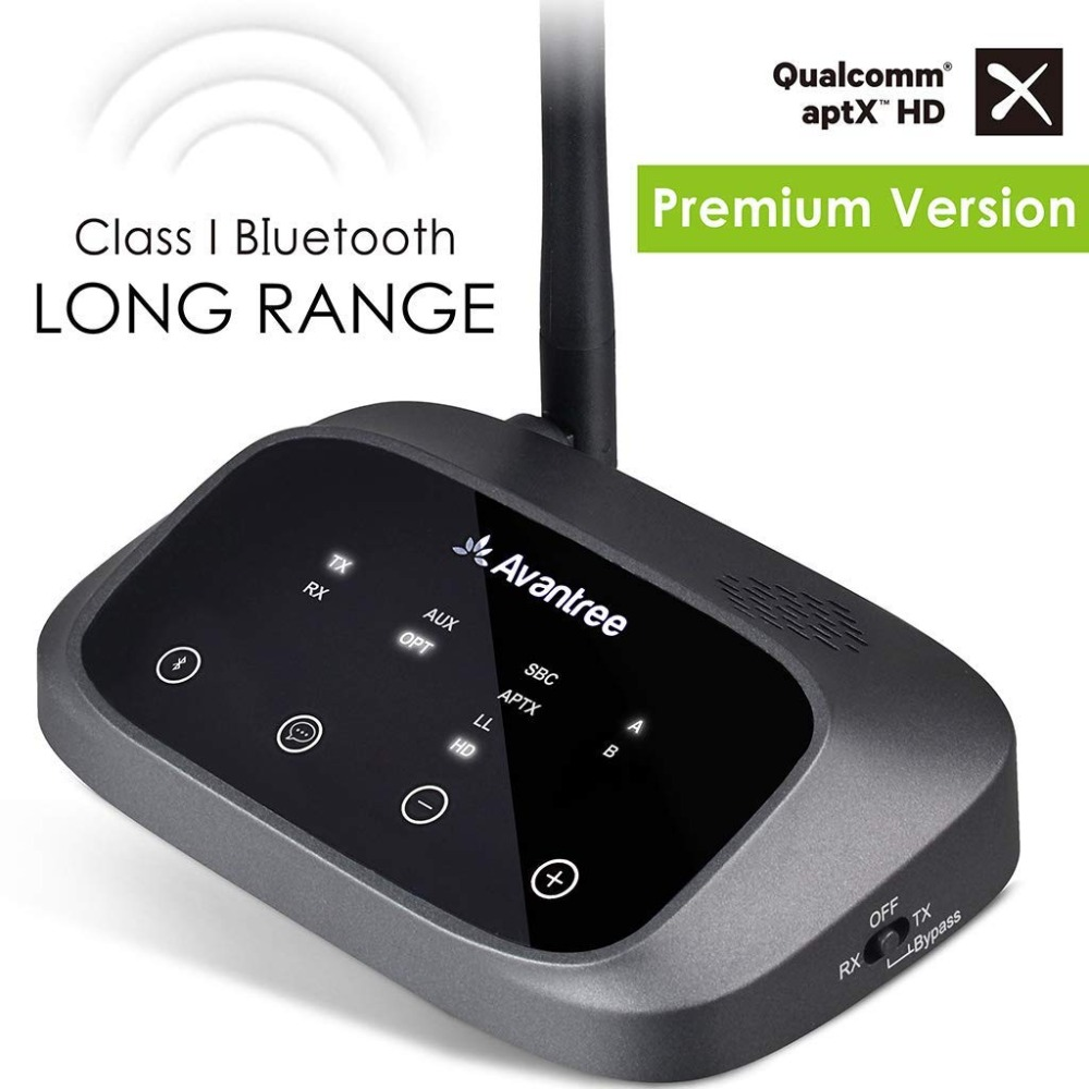 Avantree aptX HD LONG RANGE Bluetooth Transmitter for TV Audio, Wireless Transmitter and Receiver, Bypass and Bluetooth Work mee audio connect bluetooth wireless hifi hd headphone system t1h1 for tv bluetooth wireless audio transmitter and headset