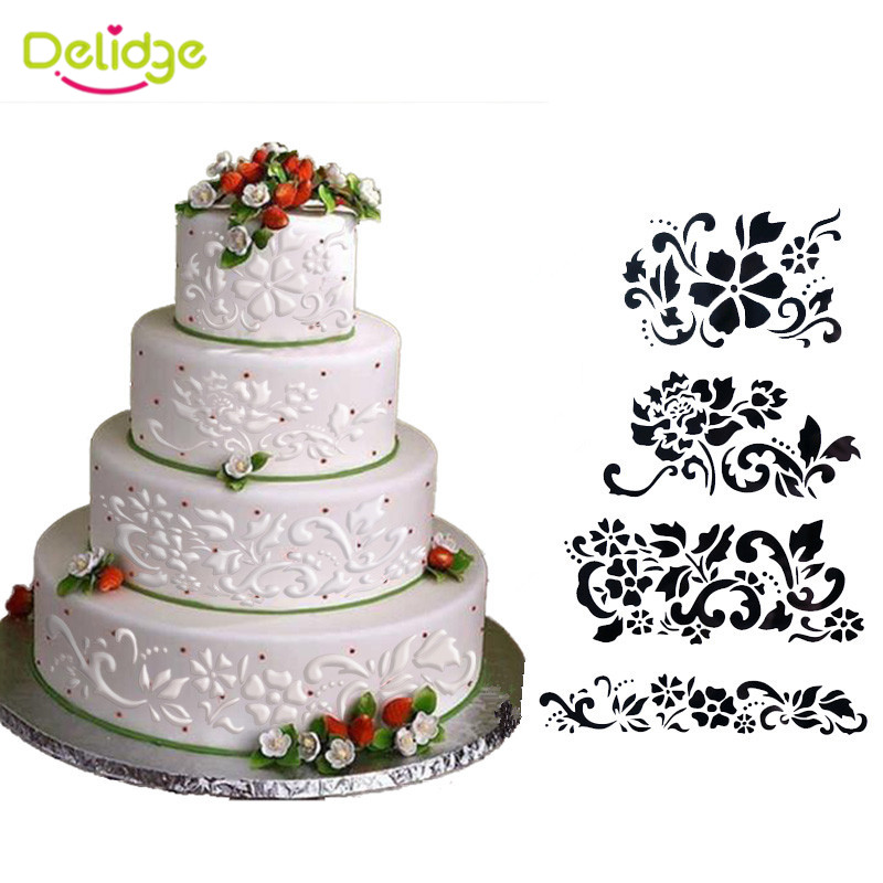 wedding cake making tools delidge 4pcs set cake stencil flower and leaf cake 23218