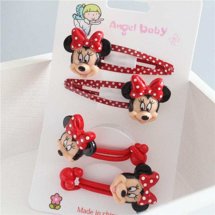 4 PCS Cartoon Cute Animal Heads Minnie BB Clips Girls Hair Accessories Hairpins Children Headwear Baby Hair Clips Headdress