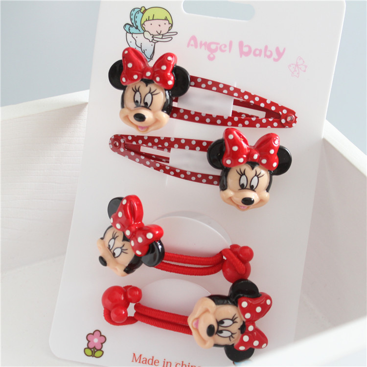 4 PCS Cartoon Cute Animal Heads Minnie BB Clips Girls Hair Accessories Hairpins Children   Headwear   Baby Hair Clips Headdress