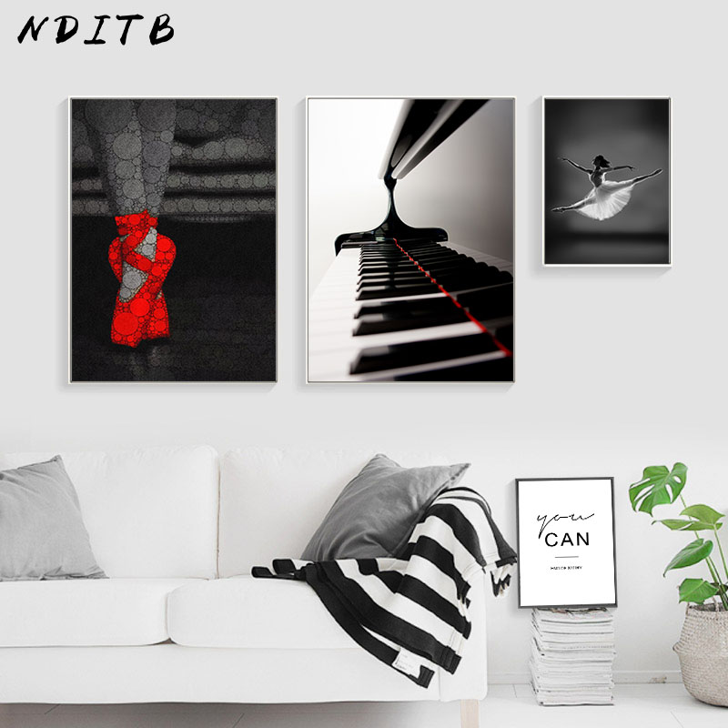 Pleasing Us 2 7 53 Off Nditb Ballet Dancing Girl Canvas Art Poster Motivational Black White Print Minimalist Painting Wall Picture For Living Room In Gmtry Best Dining Table And Chair Ideas Images Gmtryco