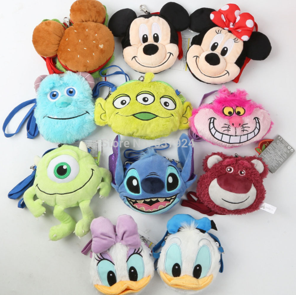 New 10Pcs Mickey Mouse Minnie Donald Duck Daisy Strawberry Bear 15CM 13CM Plush Doll Shoulder Bag
