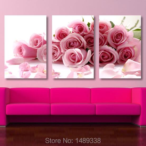 Aliexpress.com : Buy 3 Piece Pink Rose Home Decorative Canvas ...