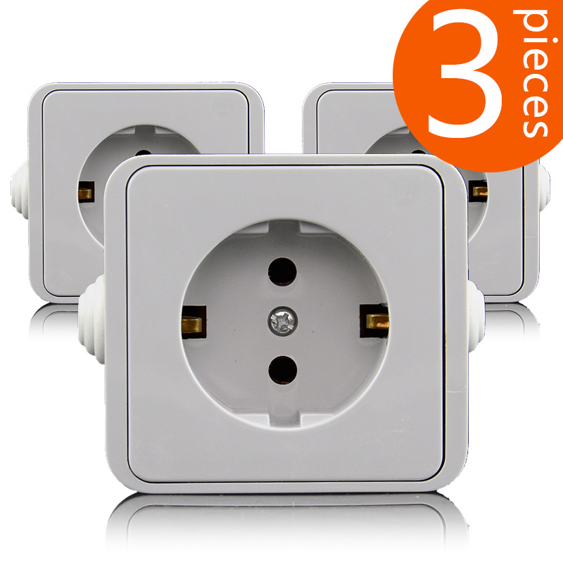 3 Pieces European standard power outlet IP44 level waterproof and ...