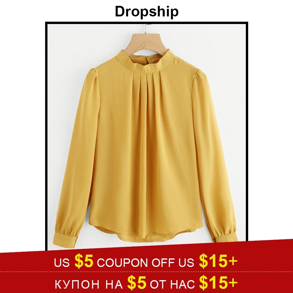 Dropship Womens Tops And   Blouses     Shirt     Blouse     Shirts   Tops Blusas Mujer De Moda 2018 White Ladies Chiffon Summer Long Sleeve