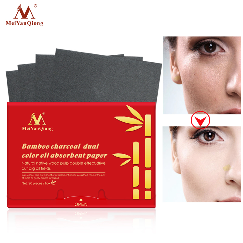 MeiYanQiong 90Sheets/Pack Makeup Absorbing Oil Paper Women Bamboo Charcoal Dual Color Whitening Blotting Paper Face Skin Care