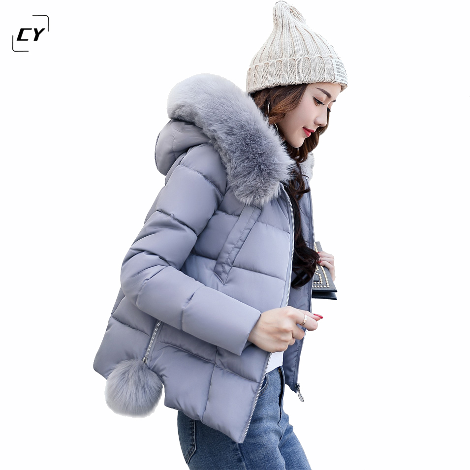 2017 Winter Women Warm Hooded Fur Collar Coat Outerwear Female Thick Wadded Jacket Cotton-Padded Parkas chaqueta Feminino women s clothing real fur collar winter jacket women 2015 new fashion thick winter coat female cotton padded jacket wadded coat