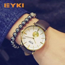 Eyki Simple Business Thin Mens Watches Top Brand Luxury Small Seconds Dial Luminous Hands Calfskin Leather Strap Men's Watches eyki 8560