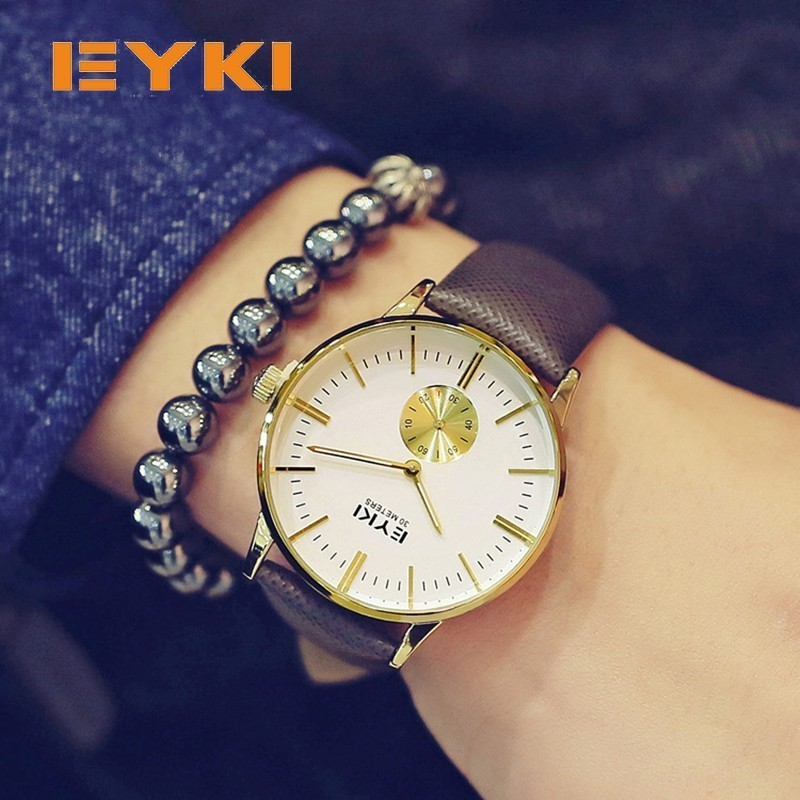 EYKI Simple Finest Thin Dial Small Independent Seconds Luminous Calfskin Leather Strap Mens Watches Top Brand Luxury Mens Watch