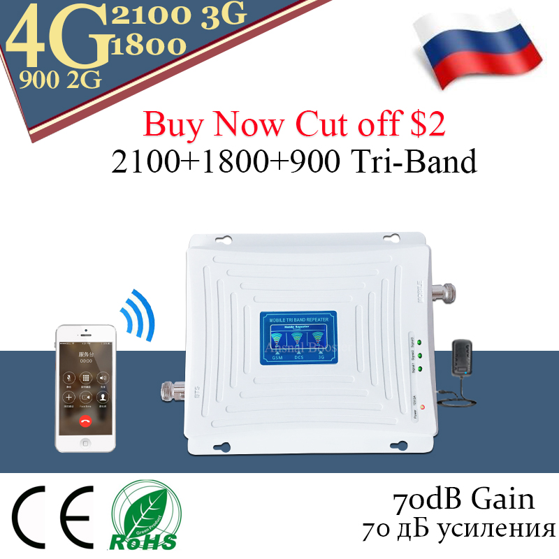 70dB Gain 900 1800 2100 GSM Cellular Repeater 2g 3g 4g Signal Booster GSM WCDMA UMTS LTE 900/1800/2100mhz Tri Band Amplifier