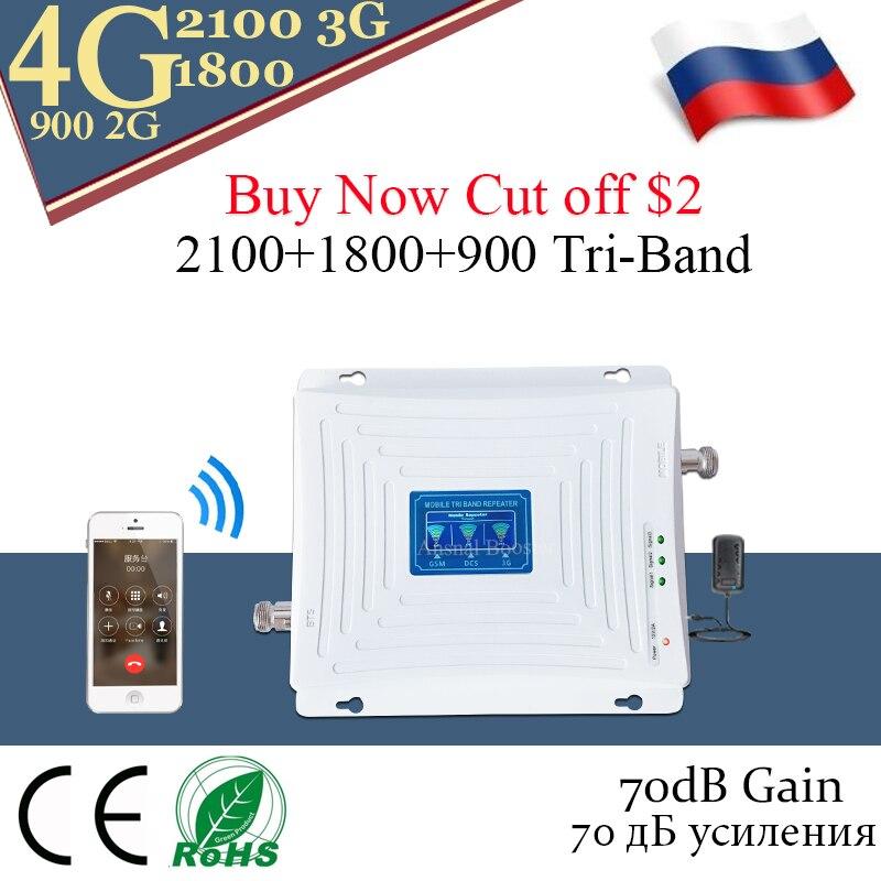 70dB Gain 900 1800 2100 GSM répéteur cellulaire 2g 3g 4g amplificateur de Signal GSM WCDMA UMTS LTE 900/1800/2100 mhz amplificateur à trois bandes