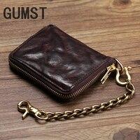 Vintage Genuine Leather Wallet Men Purse Leather Men Wallet Short style Clutch Bag Male Coin bag Money Clips Chain W6016