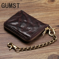 Vintage Genuine Leather Wallet Men Purse Leather Men Wallet Short style Clutch Bag Male Coin bag Money Clips Chain W6016