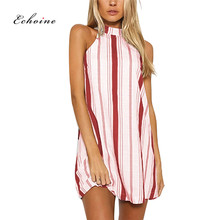 Echoine Women PartyDress Evening Graceful Halter Striped Printed Lace Up Female Lovely Sweet Midi Streetwear Elegant Vestidos