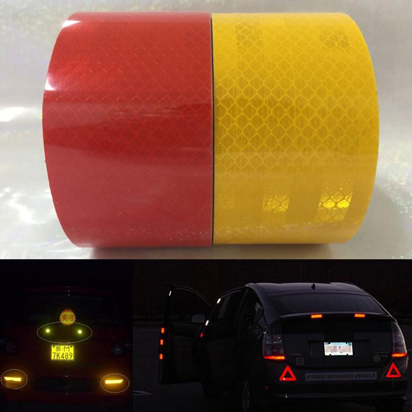 50mm X 5m Red/yellow  Reflective Strips Car Stickers Car-styling Motorcycle Decoration Automobiles Safety Warning Mark Tape