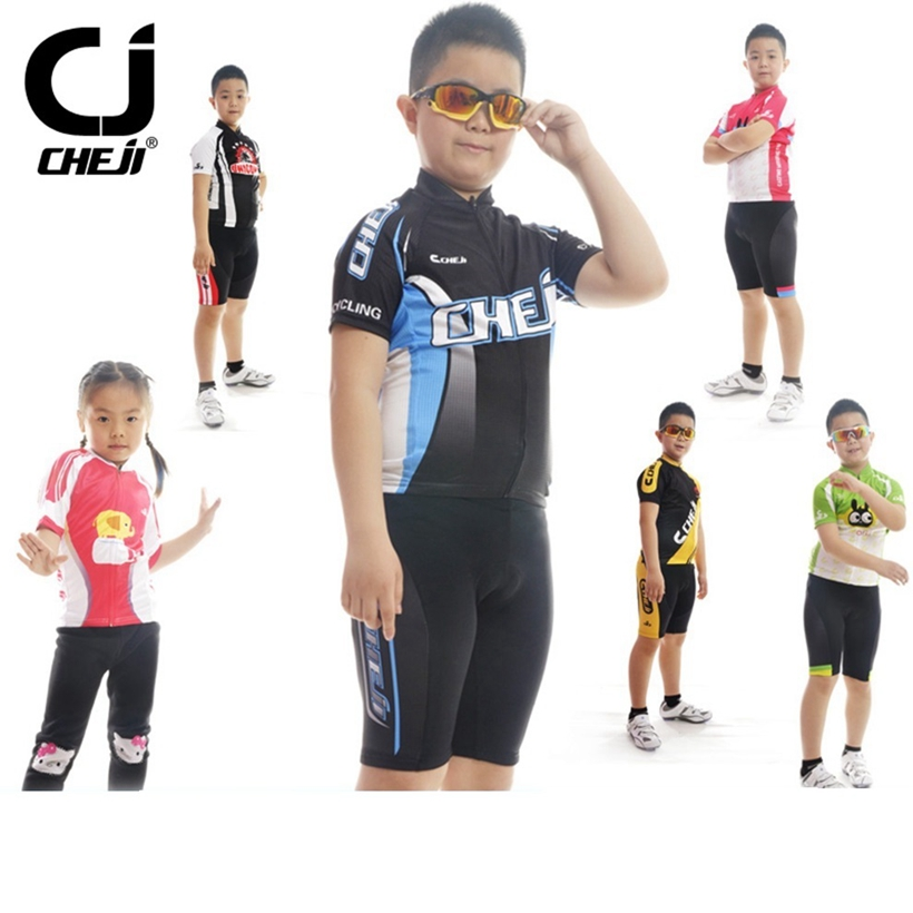 ФОТО CHEJI Children Cycling Clothing Boys Girls Bike Jersey Shorts Sets Team Bicycle ciclismo Kids mtb Shirts Cyc Top Suits