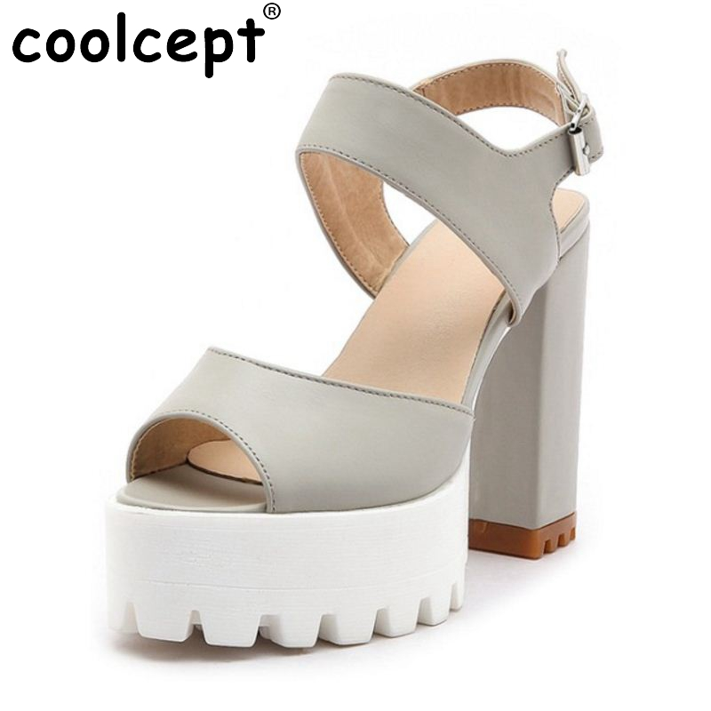 Coolcept Size 32-43 Office Lady Platform High Heel Sandals Platform Ankle Strap Peep Toe Thick Heel Sandals Summer Club Shoes kemekiss size 32 43 sexy lady platform high heel shoes women ankle strap thick heel pumps party club office shoes women footwear