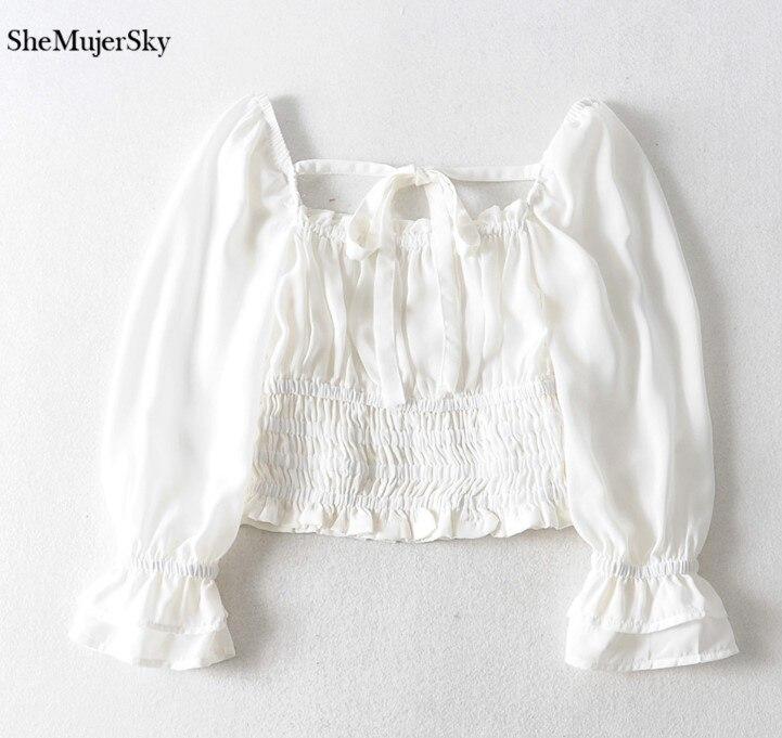 SheMujerSky Women Sexy Off Shoulder Chiffon Blouse Elastic Bandage Short Tops White Shirt 2019 koszula 7