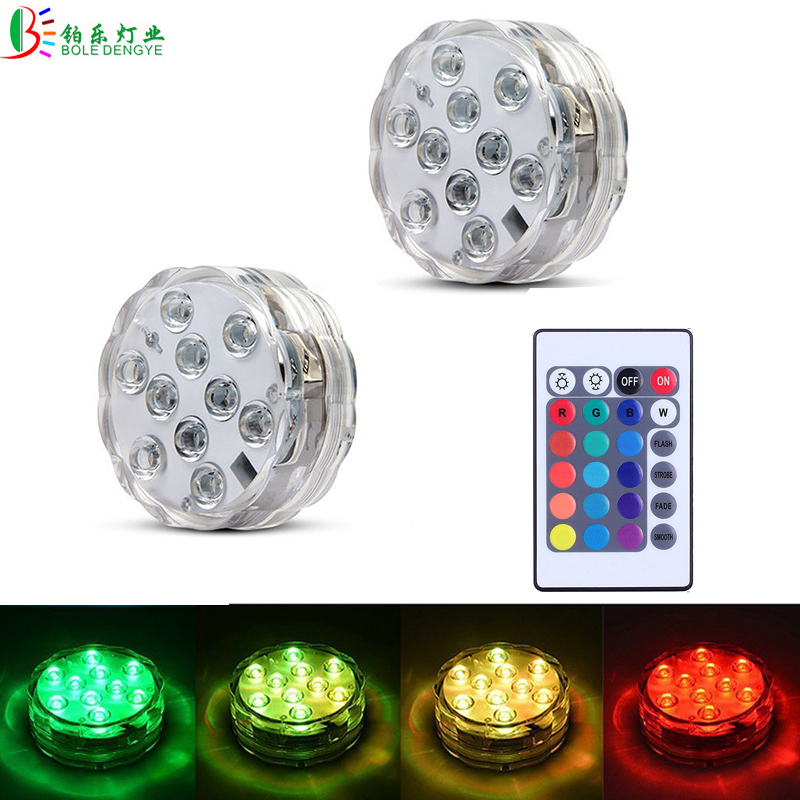 BOLEDENGYE Underwater Light RGB Waterproof LED Super Bright Swimming Pool Pond Aquarium LED Lamp Battery Powered With IR Remote