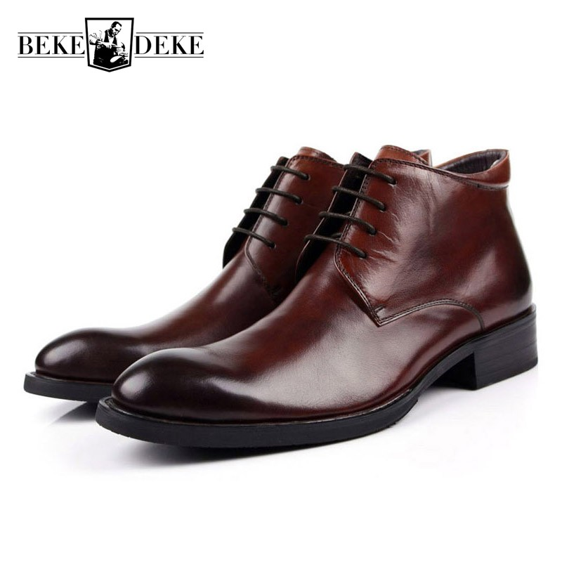 Men Work Safety Boots Genuine Leather Ankle Autumn Winter Black Brown Luxury Designer Dress Boots Lace