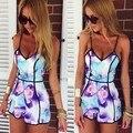 2015 nova Mulheres V Neck Praia Macacão Sexy Shorts Playsuits curtos Senhoras Imprimir Romper Jumpsuits chiffon frete grátis 41