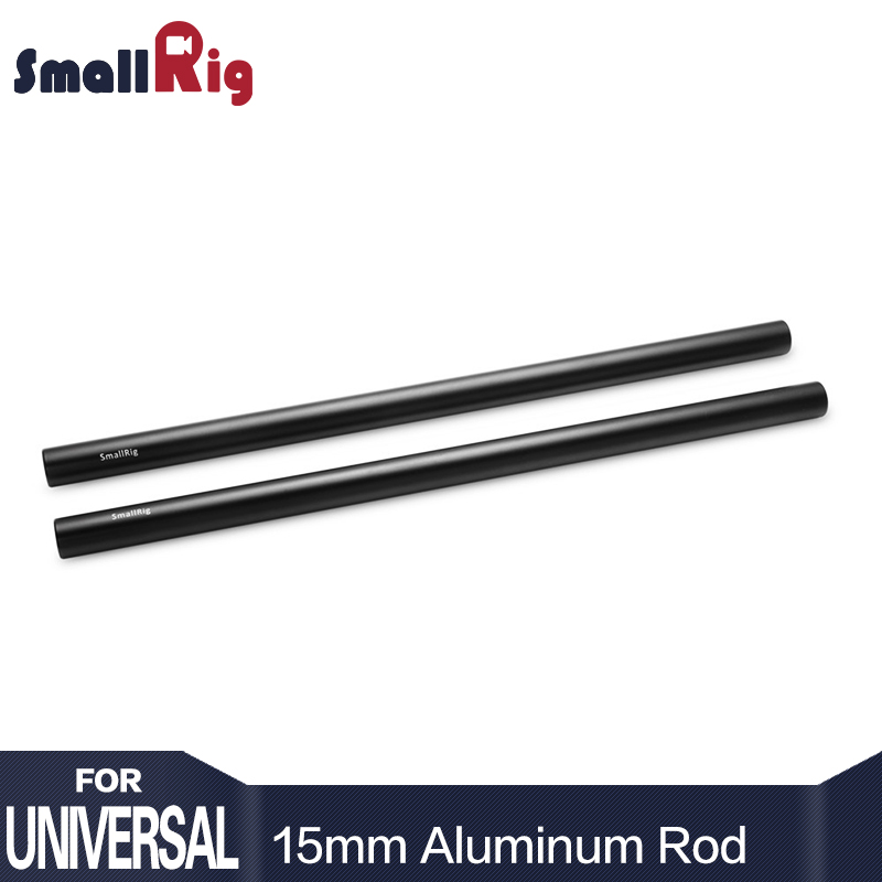SmallRig 15mm Aluminiumlegeringsstänger 30cm / 12inch Lång för Dslr-kamera 15mm Rods System Kamera Rail Rod Black (Pack of 2) - 1053