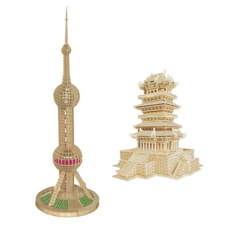 Chanycore bébé apprentissage jouets éducatifs en bois 3D Puzzle bâtiment maison chinois Oriental perle tour pavillon enfants cadeaux 4316