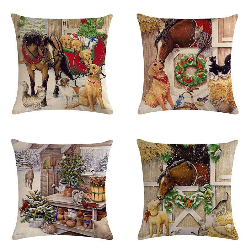 Christmas Cushion cover Cartoon Horse cat design linen/cotton pillow case character dog pattern decorative pillow cover ZY482