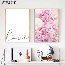 Pink Peony Flower Canvas Nordic Posters Floral Prints Scandinavian Style Wall Art Painting Decorative Pictures Modern Home Decor(China)