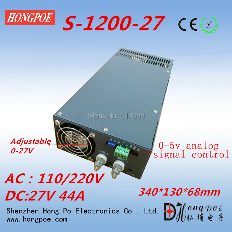 Free Shipping AC 110V input 0-5V analog signal control 0-27v power supply 27V 44A power supply 1200W 27V adjustable
