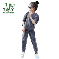 Girls Sportswear Solid Velvet Pullover Pants 2 Pcs Comfortable High Quality Boys Sport Suit Spring For