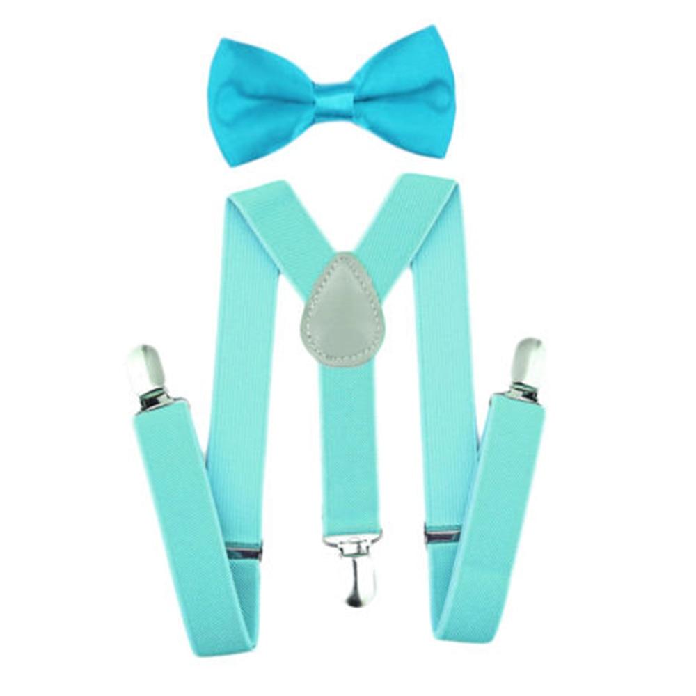 Регулируемая мода мальчиков хлопчатобумажный галстук вечерние галстуки подарок высокое качество для маленьких мальчиков малышей бабочка галстук-бабочка+ на подтяжках комплект одноцветное Цвет - Цвет: Mint green